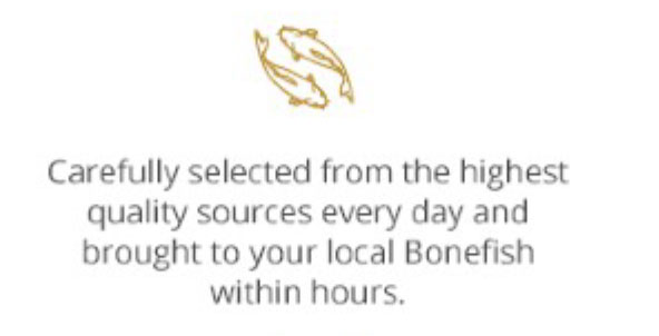 Carefully selected from the highest quality sources every day and brought to your local Bonefish within hours
